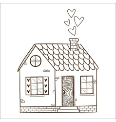 Cute house with hearts vector