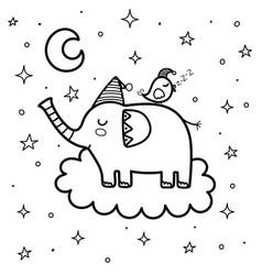 cute sleeping elephant with a bird on cloud vector image