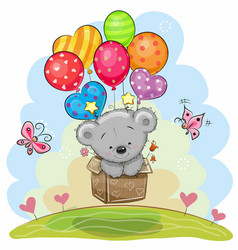 Cute teddy bear with balloons vector