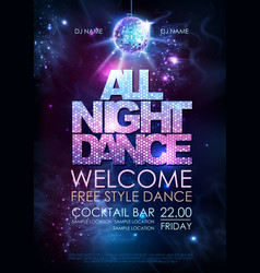 Disco ball background all night dance party vector