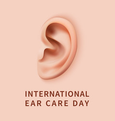 Ear care day concept background realistic style vector