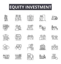 equity investment line icons for web and mobile vector image