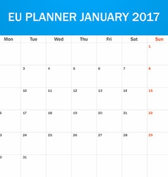 EU Planner blank for January 2017 Scheduler agenda vector