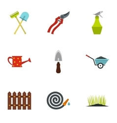 Farm icons set flat style vector