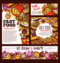 Fast food burgers pizza and dessert sketch vector