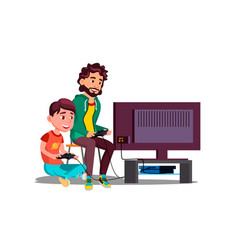 father and son play video games sitting together vector image