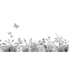 field butterflys over flowers and grass landscape vector image