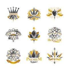 Flowers royal symbols floral and crowns emblems vector