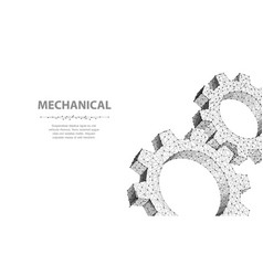 gears closeup abstract wireframe two gear vector image