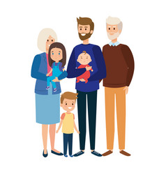 Grandparents couple with son and little kids vector