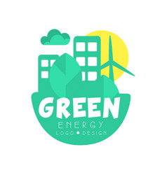 green energy logo original design template eco vector image