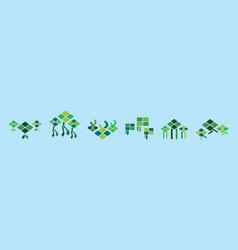 Green ketupat for ramadan and eid vector