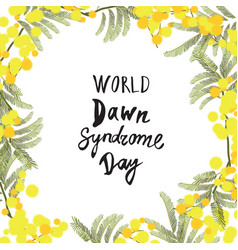 greeting card of the world down syndrome day vector image