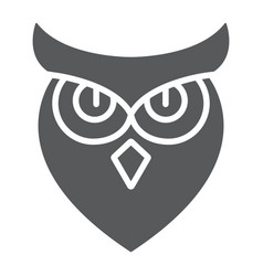 Halloween owl glyph icon animal and wisdom bird vector