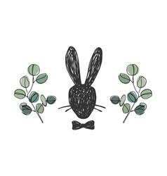 hand drawn silhouette portrait gentleman rabbit vector image