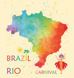 hand drawn watercolor texture map of brazil vector image