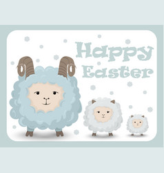 Happy easter card with sheep holiday vector
