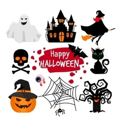 Happy halloween banner elements vector image