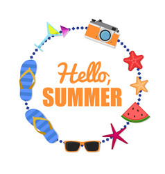 hello summer background circle vector image
