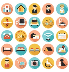 Hotel accommodation amenities services icons set vector