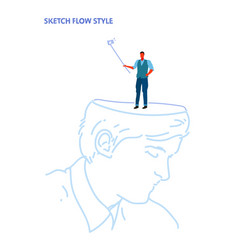human open head businessman holding selfie stick vector image