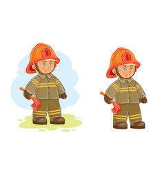 Icons of small child firefighter and his vector