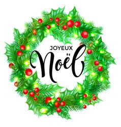 Joyeux noel french merry christmas hand drawn vector