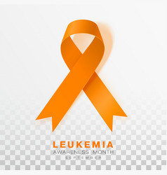 Leukemia awareness month orange color ribbon vector