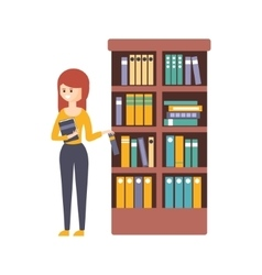 Library Or Bookstore With Young Woman Choosing A vector