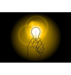 Light bulb shining on dark vector