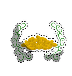 Many metal gold coins with branches vector