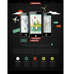 Mark up a page with three mobile phones vector