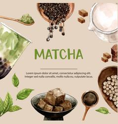 Matcha milk tea ad content trendy watercolor vector