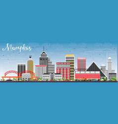 Memphis skyline with color buildings and blue sky vector