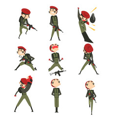 Military man in various actions set soldier vector