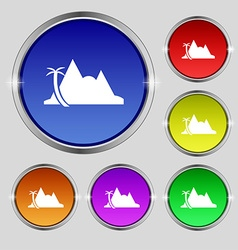 Mirage icon sign Round symbol on bright colourful vector