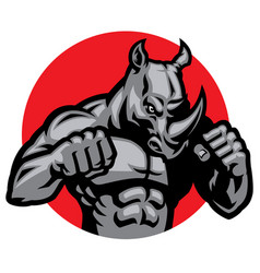 muscular rhino fighting pose vector image