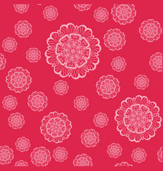 Pink mandala shapes geometric seamless pattern vector