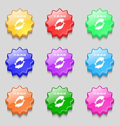 Pisces zodiac sign icon sign symbol on nine wavy vector image