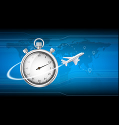 plane flies around stopwatch fast shipping vector image