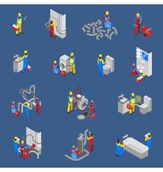Plumber Isometric People Icon Set vector image
