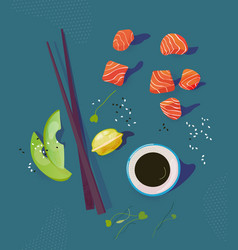 Poke bowl ingredients healthy vector