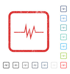 Pulse signal icon rubber watermark vector