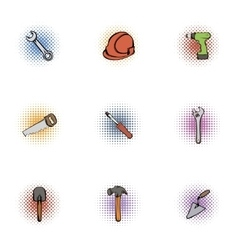 Repair tools icons set pop-art style vector