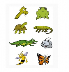 reptiles insects collection vector image