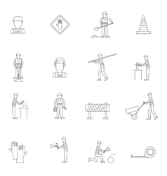 Road worker outline icon vector