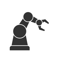 Robotic arm black icon vector
