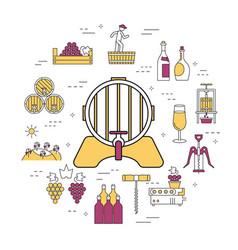 Round linear concept barrel wine vector