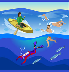 sea outdoor activities composition vector image