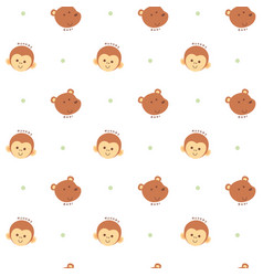seamless pattern monkey and bear vector image